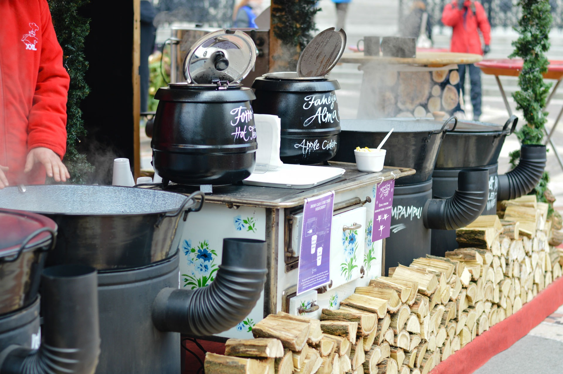 Hungarian foods at a christmas fair stand on the Vorosmarty squa