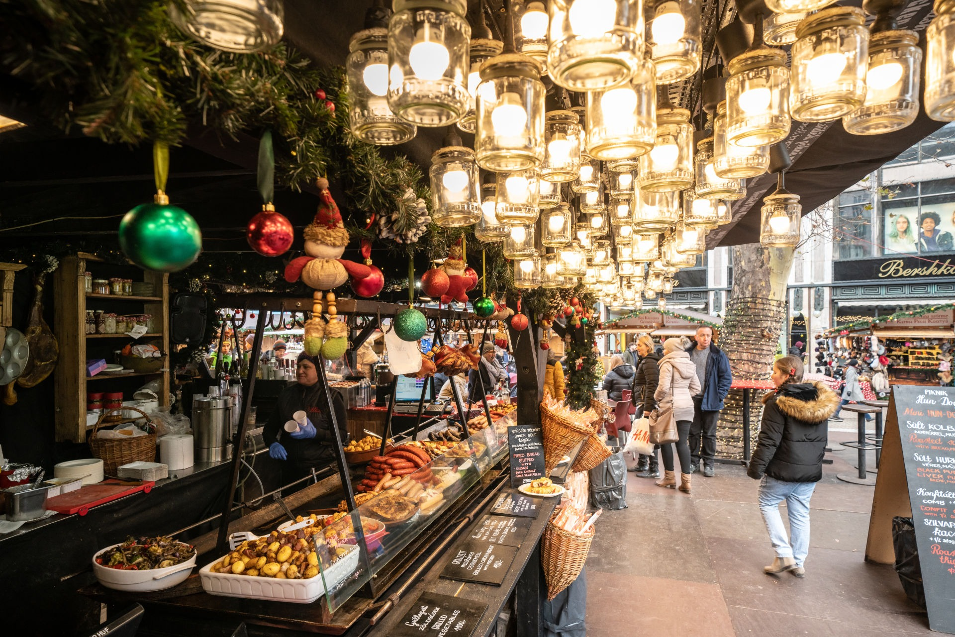 Budapest, Hungary - December 2017: Hungarian street food at the